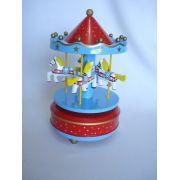 Mini Carrossel Caixinha Musical Azul/vermelho
