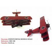 Avião Batalha Barão Vermelho Miniatura Metal