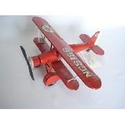 Avião Miniatura Metal Texaco Vermelho
