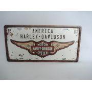 Placa Metal 30x17 Harley Davidson Moto Decoração Coleção