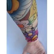 Manga Tatuada Braço Lucky Flower Tatuagem Spandex