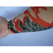 Manga Tatuada Braço Flame Tiger Tigre Style Tatuagem Spandex