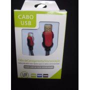 Cabo Usb Fast Charger 1,5m Iphone 5 6 7 Vermelho E Preto