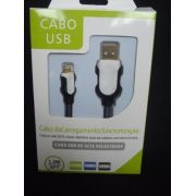 Cabo Usb Fast Charger 1,5m Iphone 5 6 7 Preto E Branco