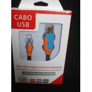 Cabo Usb Fast Charger 1,5m Samsung S3 S4 S5 V8 Laranja Azul