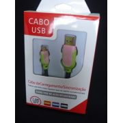 Cabo Usb Fast Charger 1,5m Samsung S3 S4 S5 V8 Verde Rosa