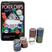 Kit Poker Profissional Super Luxo Em Lata Com 100 Fichas