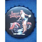 Placa Metal Harley Davidson Vintage Pin Up Coleção
