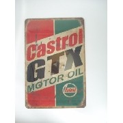 Placa Metal Castrol Gtx Oleo Carro Vintage 30x20cm