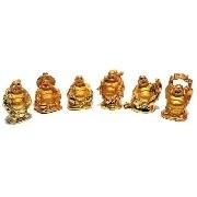 Conjunto De 6 Budas Dourados Mod 0183