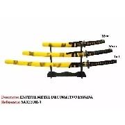 Conjunto Katanas Amarelas Com Suporte Mesa Gratis
