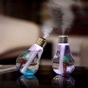 Umidificador De Ar Usb Formato Lâmpada Led Luz Colorida
