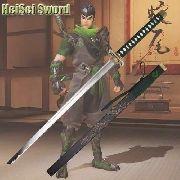 Espada Katana 105cm Genji Overwatch Game Cosplay Aço Carbono