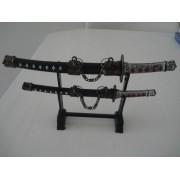 Espada Samurai Sabre Japones 2 Peças Decoração Enfeite Oriental