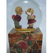 Caixa Musical Londres Ursinho Love Bear Esfera Vidro