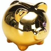 Cofre Porquinho Dourado Espelhado