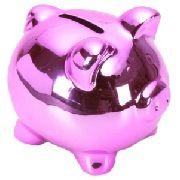 Cofre Porquinho Rosa Espelhado
