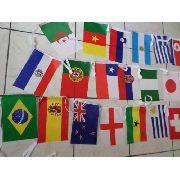 Conjunto 32 Bandeiras Paises 30 X 20cm Varal Festas