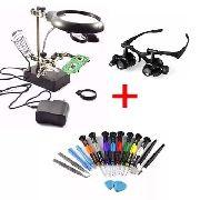 Kit Lupas Eletrônica E Óculos Jogo 16 Chaves Reparo Celular