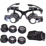 Oculos Lupa Cabeça 8 Lentes 2 Leds Alto Brilho Para Ourives