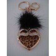 Chaveiro Coração Leopardo Com Brilhos