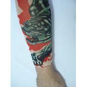 Manga Tatuada Braço Tigre Com Tatuagem Spandex