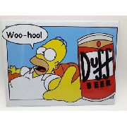Placa Metal Homer Simpson Cerveja Duff Beer 26x20cm