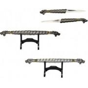 Adaga Dupla Dragão Bastão Espada Lâmina Embutida 49cm
