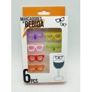 - Identificador Marcador Copo Bebida Com 6 Peças Oculos