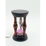 - Mini Ampulheta 8cm Em Madeira Areia Rosa Decoração Retro