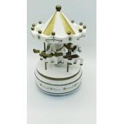 - Mini Carrossel Caixinha Musical Branco E Dourado