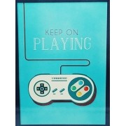 - Placa Metal Game Controle Sness 27x20cm Keep On Playing