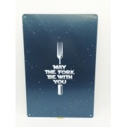 - Placa Metal Let The Fork Be Whit You 27x20 Culinaria Cozinha