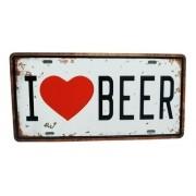 Placa Metal Vintage 31x17 Bebida Eu Amo Cerveja Love Beer