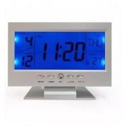 Relógio De Mesa Digital Despertador Temperatura Prata