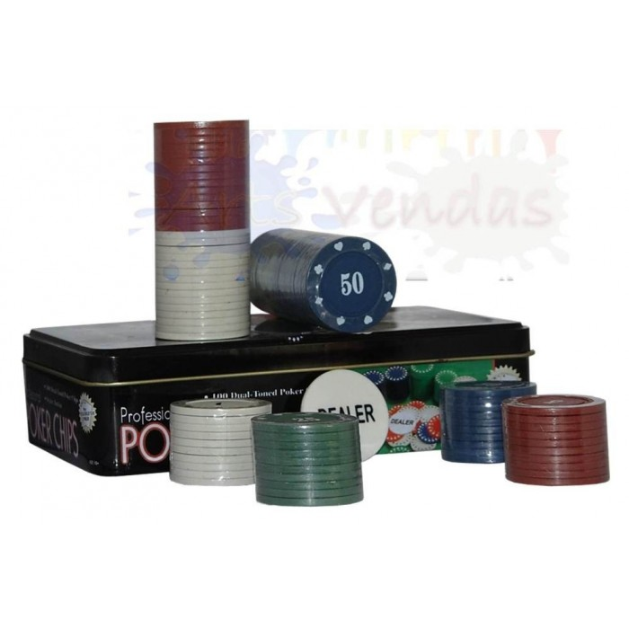 Kit Poker Profissional Super Luxo Em Lata Com 100 Fichas  - PRESENTEPRESENTE