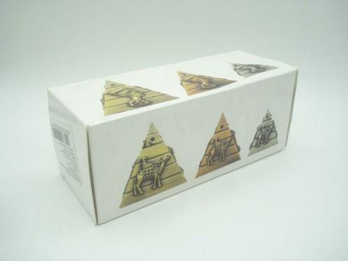 Conjunto 3 Peças Pirâmide Egito Enfeite Metal Faraó  - Presente Presente
