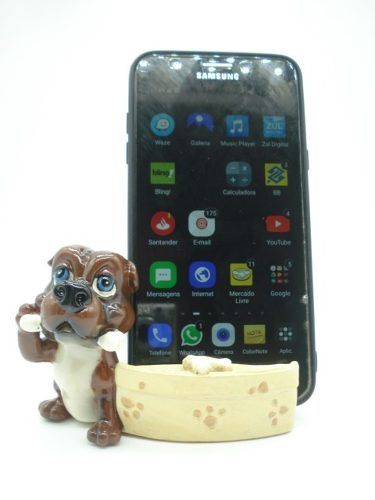 Enfeite Resina Cachorro Porta Celular 11cm Decoração Xce3567  - PRESENTEPRESENTE