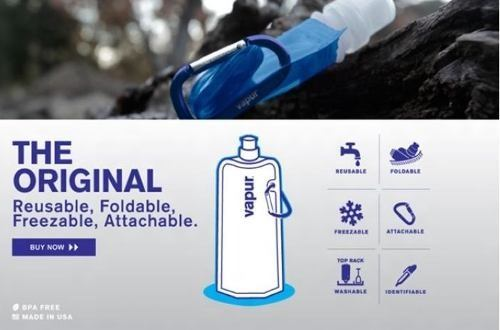 Garrafa De Água Squeeze Dobrável, Flexível E Reutilizável  - José Geraldo Almeida Marques
