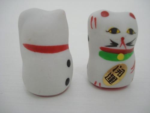 Gato Da Sorte Maneki Nekô Par P1 4cm  - José Geraldo Almeida Marques