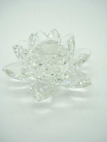 Flor De Lótus De Cristal Transparente 10cm  - PRESENTEPRESENTE