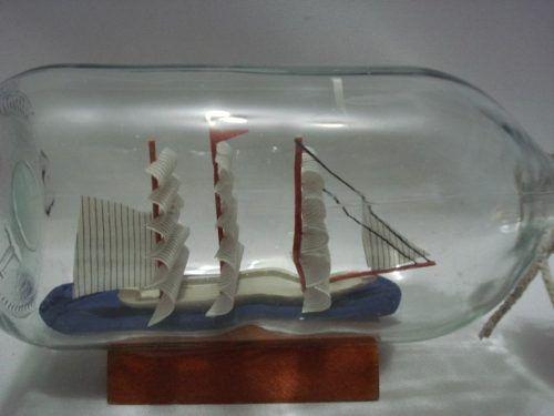 Barco Garrafa Medio Caravela Veleiro Madeira Decorativa  - PRESENTEPRESENTE