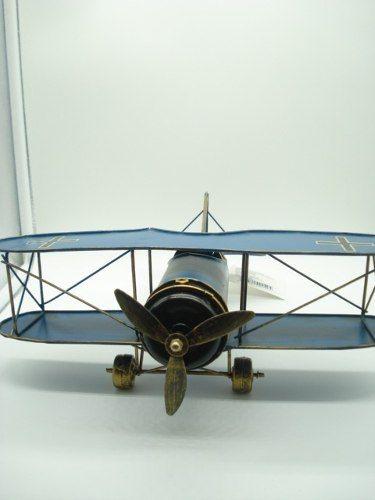 Avião De Guerra Miniatura Metal Azul 30cm  - José Geraldo Almeida Marques