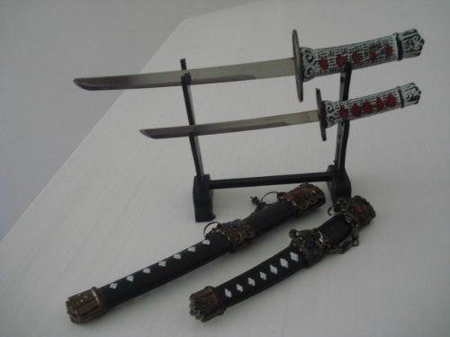Espada Samurai Sabre Japones 2 Peças Decoração Enfeite Oriental  - PRESENTEPRESENTE
