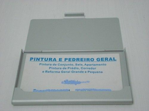 Porta Cartão De Visitas liso prata Frete Grátis  - PRESENTEPRESENTE