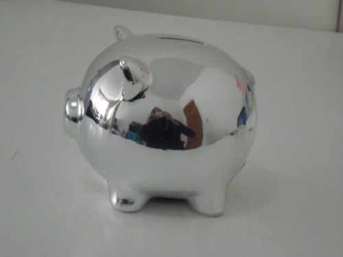 Cofre Porquinho Prata Espelhado  - José Geraldo Almeida Marques