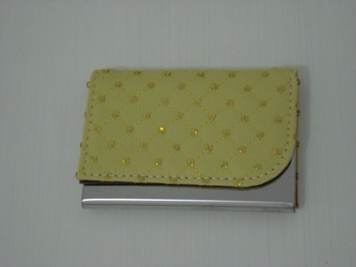 Porta Cartão De Visitas Inox Amarelo  - Presente Presente