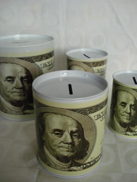 Cofre Lata Nota De Dolar Conjunto 4 Peças Cofrinho  - PRESENTEPRESENTE