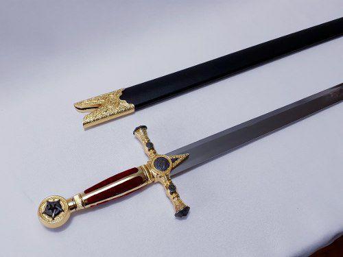 Espada Maçônica Vermelha Com Bainha Templaria Cruzadas  - PRESENTEPRESENTE