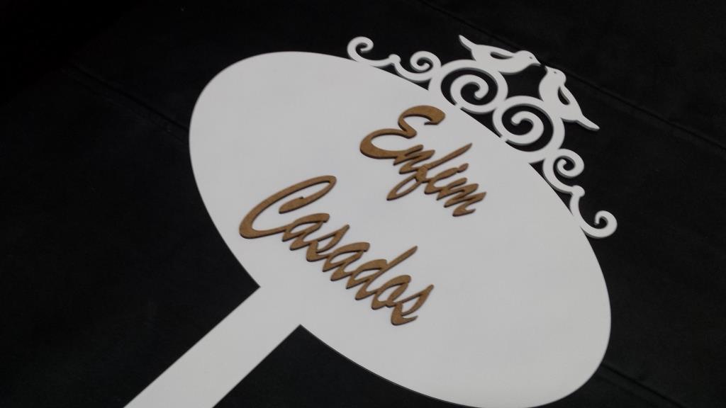 Placa de Casamento - Noiva - La vem a Noiva - Passarinhos JE07